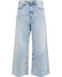 Rag & Bone Cropped Faded High-rise Wide-leg Jeans Light Denim - Blue