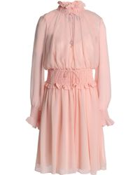 Mikael Aghal - Shirred Chiffon Dress Pastel Pink - Lyst