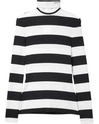 CALVIN KLEIN 205W39NYC Striped Stretch-jersey Turtleneck Top - Black
