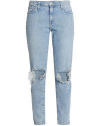 Current/Elliott Nova Distressed Mid-rise Slim-leg Jeans - Blue