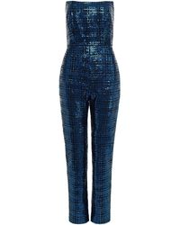 Michelle Mason Strapless Sequined Mesh Jumpsuit - Blue