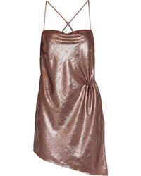 Michelle Mason Asymmetric Ruched Tinsel Mini Dress Antique Rose - Pink