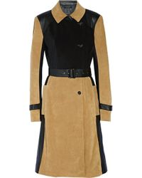 Ohne Titel - Suede And Leather Trench Coat - Lyst
