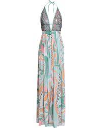 Emilio Pucci - Woman Belted Embellished Printed Crepe De Chine Halterneck Maxi Dress Mint - Lyst