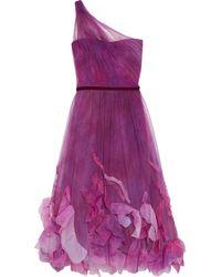 Marchesa notte One-shoulder Appliquéd Pleated Tulle Gown - Purple
