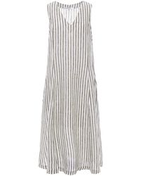 Stateside Striped Linen Midi Dress Leaf Green