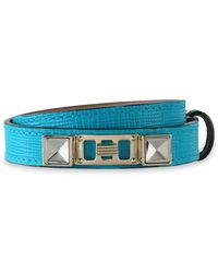 Proenza Schouler Lizard-effect Leather, Silver And Gold-tone Bracelet Turquoise - Blue