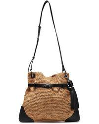 Michael Kors Sedona Tasselled Leather-trimmed Raffia Shoulder Bag Black