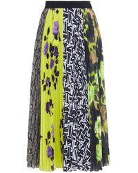 MSGM Pleated Printed Crepe Midi Skirt - Black