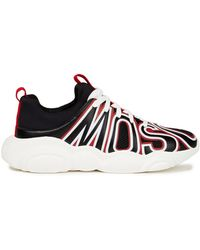 Moschino Leather-appliquéd Mesh And Scuba Sneakers - Black
