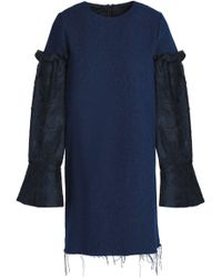Mother Of Pearl - Frayed Panelled Fil Coupé And Denim Mini Dress - Lyst