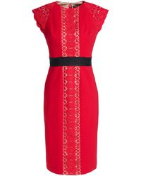 Catherine Deane Guipure Lace-paneled Crepe Dress - Red