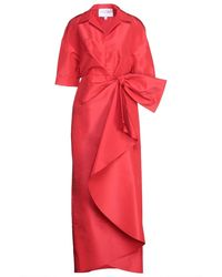 Carolina Herrera Bow-embellished Draped Silk-faille Gown - Red