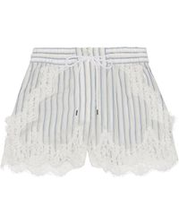 Sacai - Lace-trimmed Striped Shell Shorts - Lyst