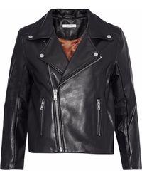 Ganni Woman Passion Leather Biker Jacket Black