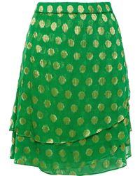 Cecilie Copenhagen Cecilie Copenhagen Christine Metallic Fil Coupé Georgette Mini Skirt - Green