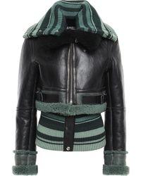 Acne Studios Convertible Shearling And Striped Ribbed-knit Jacket Black