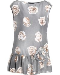 Boutique Moschino - Floral-print Silk Top - Lyst