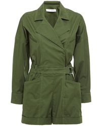 IRO Belo Belted Cotton-blend Twill Playsuit Leaf Green