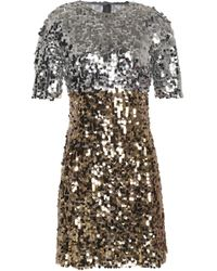 Dolce & Gabbana - Two-tone Sequined Tulle Mini Dress - Lyst