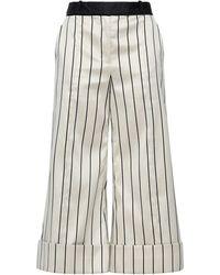 Zimmermann Cropped Striped Cotton-blend Satin Wide-leg Pants - Black