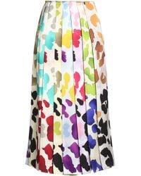 Marco De Vincenzo - Pleated Printed Satin Midi Skirt - Lyst