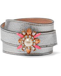 Shourouk Beedis Textured-leather, Gold-tone And Crystal Bracelet - Metallic