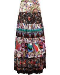 Roberto Cavalli | Tiered Printed Cotton-voile Maxi Skirt | Lyst