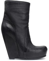 Rick Owens - Textured-leather Wedge Ankle Boots - Lyst