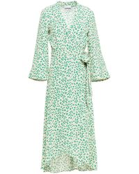 Ganni Printed Crepe Midi Wrap Dress - Green