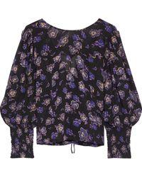 Ganni Tie-back Floral-print Georgette Blouse Black