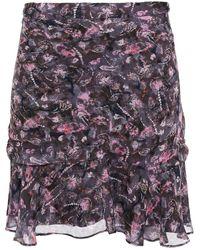 IRO - Gathered Printed Chiffon Mini Skirt Dark Gray - Lyst