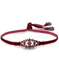 Noir Jewelry Stahlgrauer Choker Mit Samt Und Kristallen Größe - Red