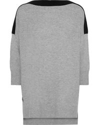 Amanda Wakeley Two-tone Cashmere And Wool-blend Sweater Gray