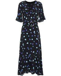 Markus Lupfer Greta Belted Floral-print Crepe Midi Dress - Black