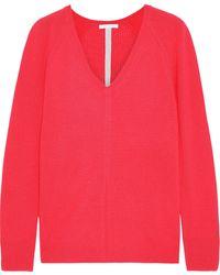 Duffy Open Knit-paneled Cashmere Sweater Papaya - Multicolor