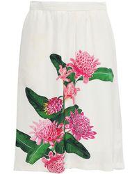 Isolda Elisa Floral-print Crepe Skirt - White