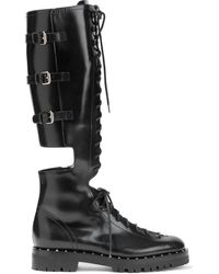 Valentino Garavani Valentino Garavani Rockstud Lace-up Cutout Glossed-leather Knee Boots - Black