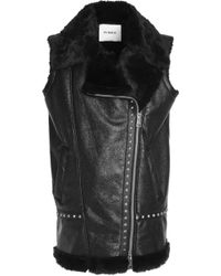 Ainea - Studded Coated Faux Shearling Vest - Lyst
