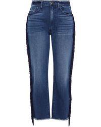 3x1 W3 Higher Ground Fringed High-rise Straight-leg Jeans Mid Denim - Blue