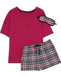 DKNY - Checked Cotton-blend Pajama Set - Lyst