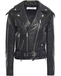 IRO Lenn Frayed Leather Biker Jacket Black