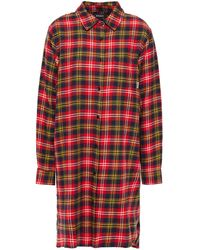 DKNY Checked Cotton-blend Flannel Nightshirt Red