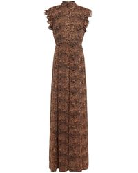 Mikael Aghal Ruffle-trimmed Leopard-print Crepon Maxi Dress - Brown