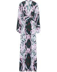Melissa Odabash Erin Floral-print Crepe De Chine Kaftan Dark Green