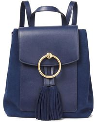 Tory Burch Tasselled Suede And Leather Backpack - Blue
