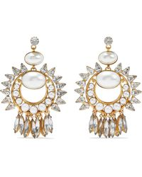Elizabeth Cole Simcha 24-karat Gold-plated, Faux Pearl And Swarovski Crystal Earrings Gold - Metallic