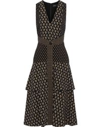 Proenza Schouler Tiered Printed Crepe Dress Black