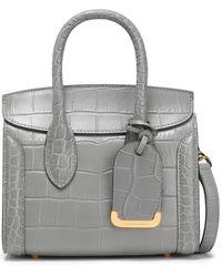 Alexander McQueen Heroine Croc-effect Leather Shoulder Bag Grey