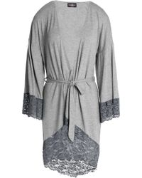 Cosabella - Lace-trimmed Mélange Jersey Robe - Lyst